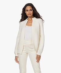 Josephine & Co Tijl Grof Ribgebreide Open Vest - Off-white