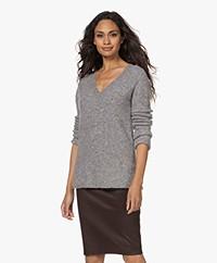 By Malene Birger Bifora V-neck Sweater - Mid Grey Melange