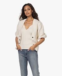ba&sh Castille Cotton-Wool Blend Cardigan with Rhinestones - Ecru
