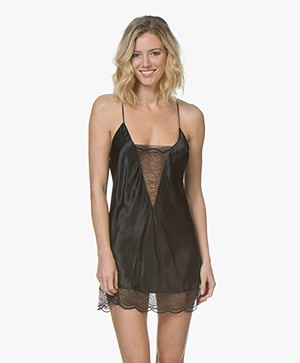 Calvin Klein Black Silk Chemise with Lace Details - Black