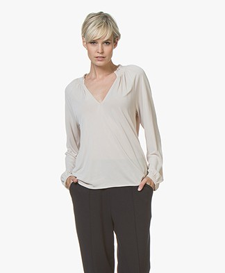 Filippa K Open Front Smock Blouse - Mousse
