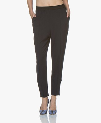 By Malene Birger Sunday Twill Jersey Loose-fit Pants - Dark Blue