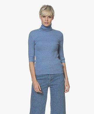 Filippa K Flat Rib Roller-Neck Sweater - Paris Blue