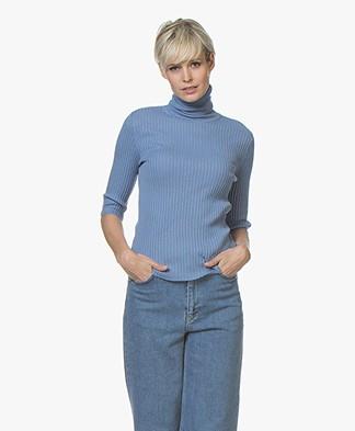 Filippa K Flat Rib Roller-Neck Sweater - Paris Blue