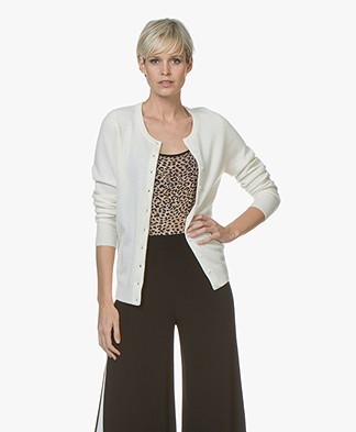 Repeat Cashmere Fine Knit Cardigan - Cream