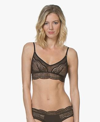 Calvin Klein Black Unlined Lace Bralette - Black