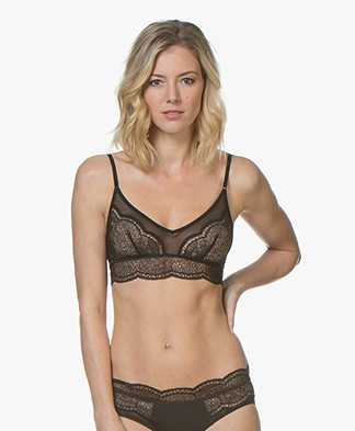 Calvin Klein Black Unlined Lace Bralette - Black
