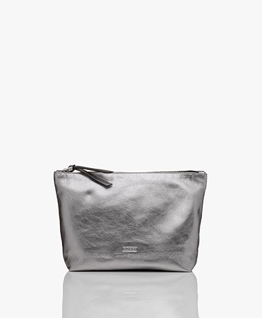 Closed Metallic Leather Pouch - Silver