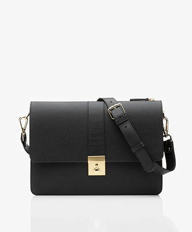 Closed Vicky Two Faced Leather Shoulder Bag - Black
