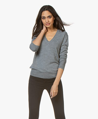 Filippa K Merino  V-neck Sweater - Mid Grey Melange