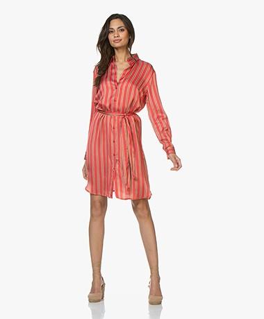 no man's land Striped Satin Shirt Dress - Red