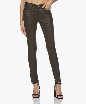 IRO Zaslim Leather Slim-fit Pants - Black