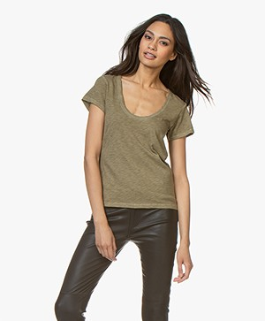 Rag & Bone Pima Katoenen U-hals T-shirt - Dry Grass