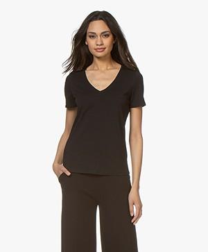 Repeat Stretch-Katoen V-hals T-shirt - Zwart