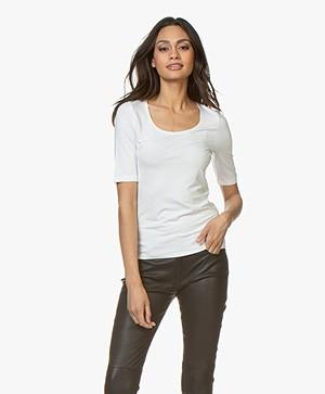 no man's land Viscose Half Sleeve T-Shirt - Ivory