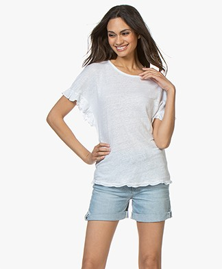 Belluna Bamboo Linen T-shirt with Ruffles - White