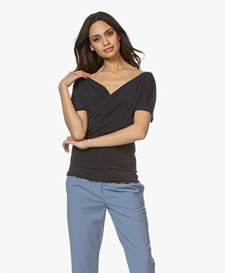 By Malene Birger Crepe Jersey Wrap T-shirt - Night Sky