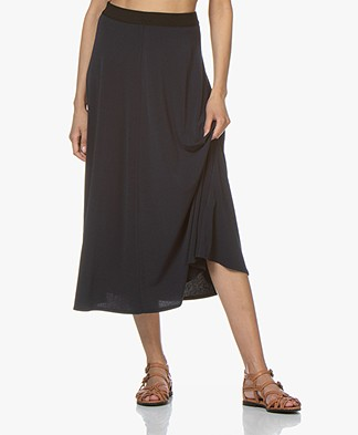 By Malene Birger Crepe Jersey A-line Midi Skirt - Night Sky