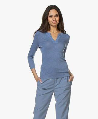 Belluna Bano Linen Cropped Sleeve T-Shirt - Jeans Blue