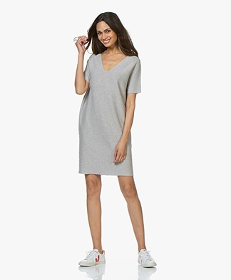 Drykorn Salita Cotton-Cashmere Knitted Dress - Light Grey Melange