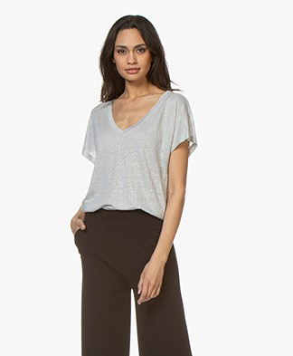 Drykorn Svana Linen V-neck T-shirt - Light Grey
