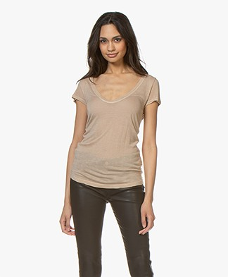 Fine Edge Wool Blend V-neck Tee - Sand