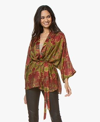 Mes Demoiselles Davince Pure Silk Kimono - Combo Green