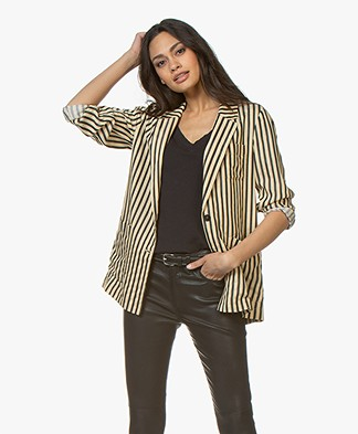 Pomandère Striped Twill Blazer - Black