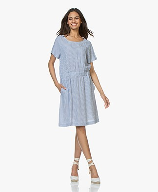 Josephine & Co Celine Striped Linen Blend Dress - Blue