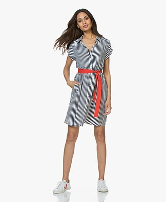 LaSalle Striped Viscose Crepe Shirt Dress - Navy