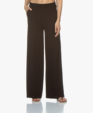 LaSalle Wide Crepe Jersey Pants - Black