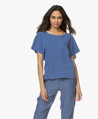 Majestic Majestic Filatures Short Sleeve Sweater in Cashmere Blend - Ponza Blue