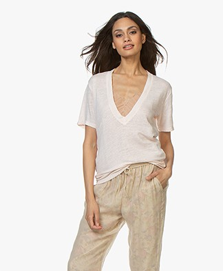 IRO Jahal V-neck Pure Cotton T-shirt - Cream Pearl