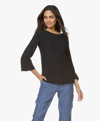 no man's land Sweater with Cropped Trumpet Sleeves - Dark Sapphire