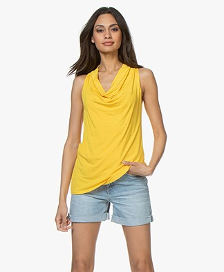 no man's land Waterfall Neck Top - Buttercup