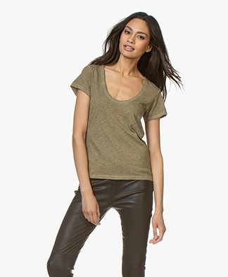 Rag & Bone Pima Cotton U-neck T-shirt - Dry Grass