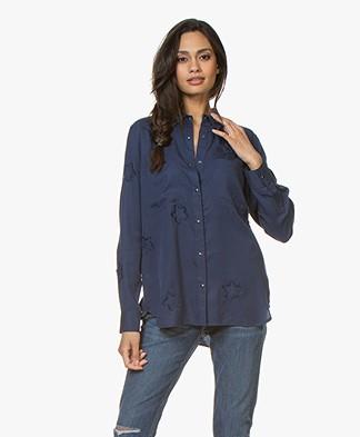 Repeat Tencel Shirt with Stars - Dark Blue
