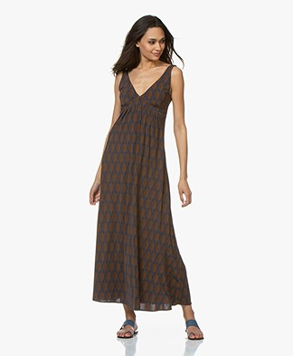 Siyu Cappa Tech Jersey Printed Maxi Dress - Dark Blue/Brown