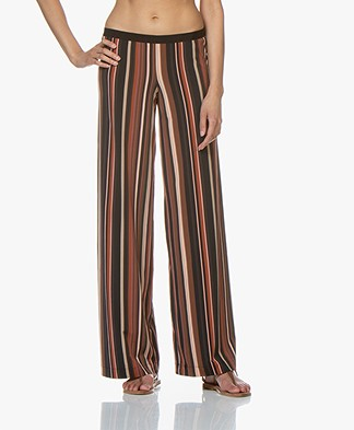 Siyu Rayas Striped Tech Jersey Pants - Brown
