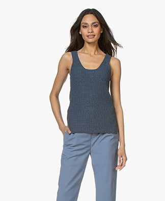 indi & cold Tape Yarn Rib Tank Top - Indigo
