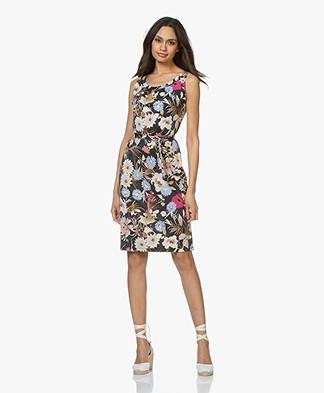 no man's land Viscose Jersey Dress with Print - Azure