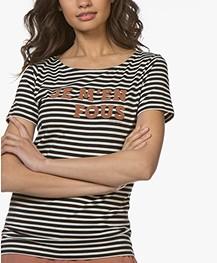 Plein Publique La Police Je M' Enfous T-shirt - Ecru/Black