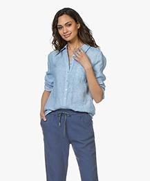 Belluna Biba Garment-dyed Linen Blouse - Light Blue