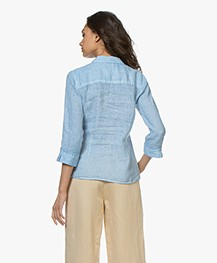 Belluna Camini Embroidered Linen Blouse - Light Blue