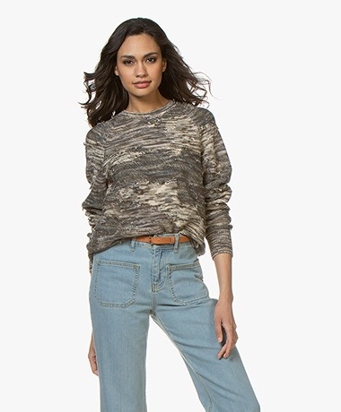 Rag & Bone Coby Cotton Sweater with Frayed Detailing - Army
