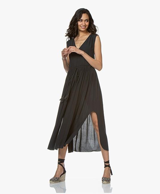 BRAEZ Mouwloze Midi-jurk met Plooien - Petrol