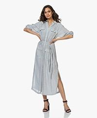 Current/Elliott The Ana Striped Maxi Shirt Dress - Blue