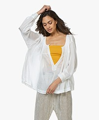 forte_forte Zijdemix Voile Blouse - Wit