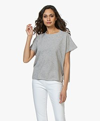 LaSalle Cashmere Poncho Short Sleeve Sweater - Silver