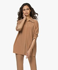 Norma Kamali Boyfriend Travel Jersey Blouse - Sun Tan